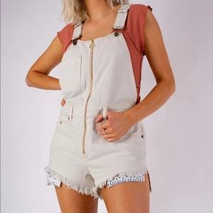 Free People Sunkissed Shortall Overalls NWT 10